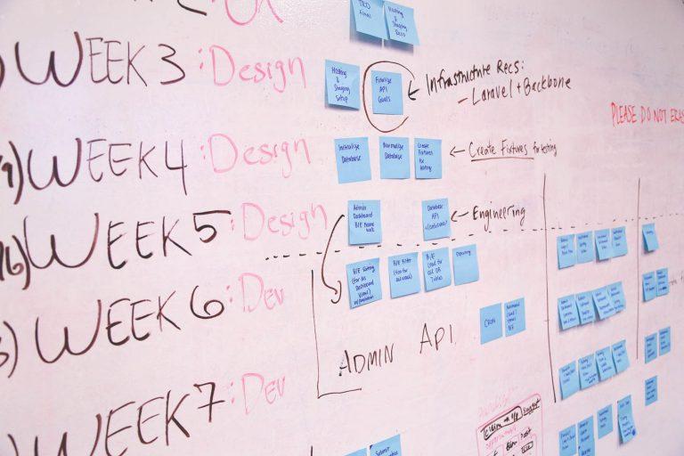 planning schedule on white board